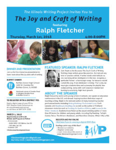 Download the flyer for the 2018 Spring Event featuring Ralph Fletcher